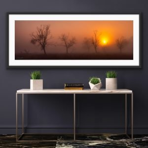 foggy sunrise landscape print